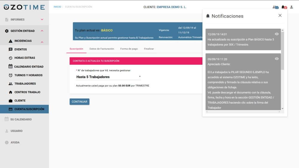 OZOTIME Pantalla Cuenta Suscripción